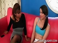 Lesbo mom strips for sex with a teen