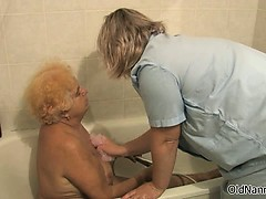 Nasty old woman gets her body rubbed part5