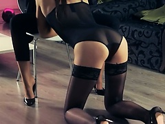 Hot models fucking with strap in garters