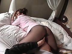 Gorgeous asian milf takes off his pants part2