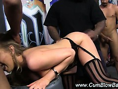 Stockinged interracial blonde hussy