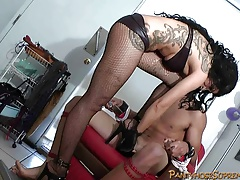 Pantyhose Mistress bustsballs on male slave