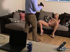 Blonde amateur hottie sucks dick on casting