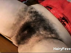 Blonde hirsute lady Leenuh and her stud engage in kinky sex