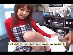 Japanese AV model gives a hot blowjob